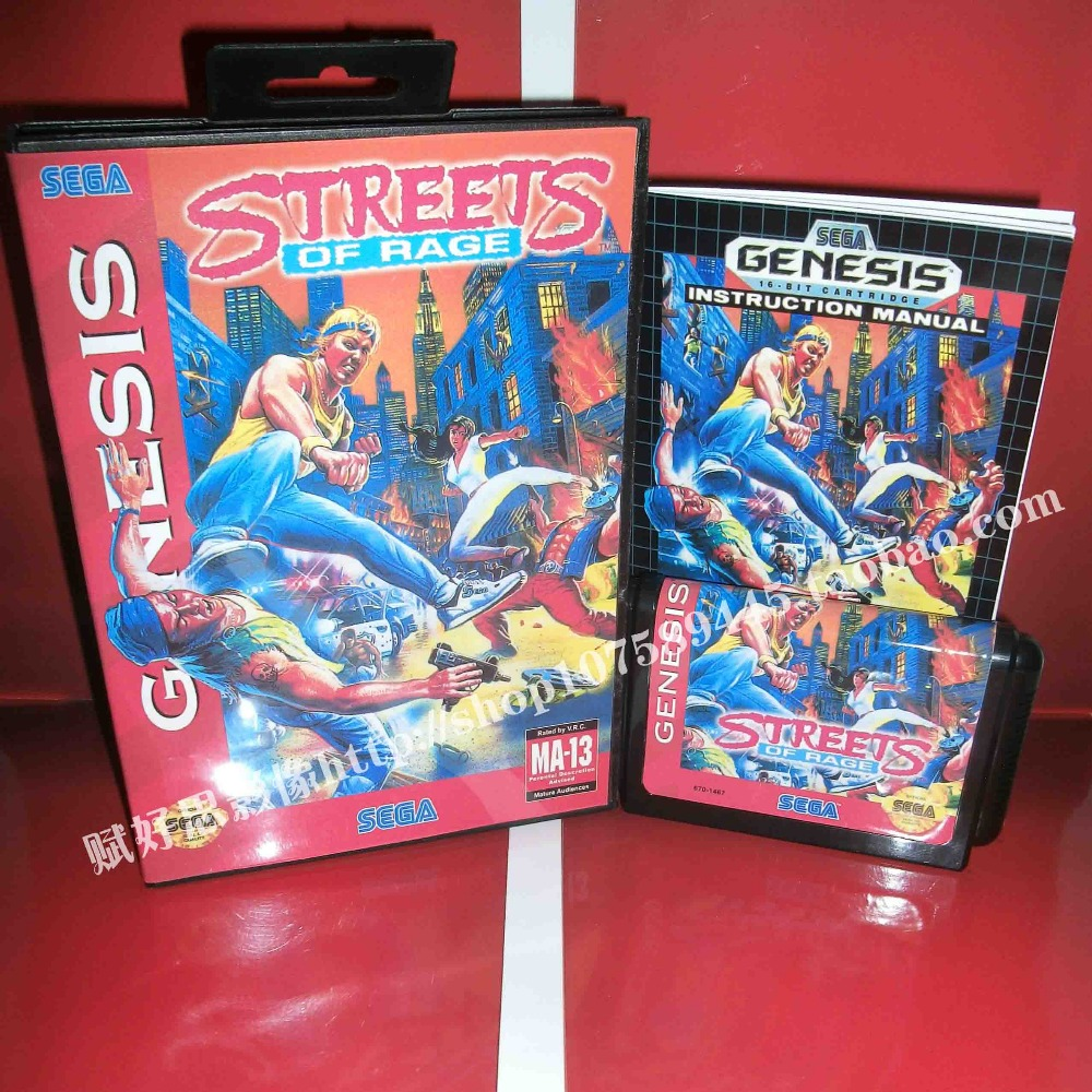 Streets of rage Game cartridge with Box and Manual 16 bit MD card for Sega Mega Drive for Genesis