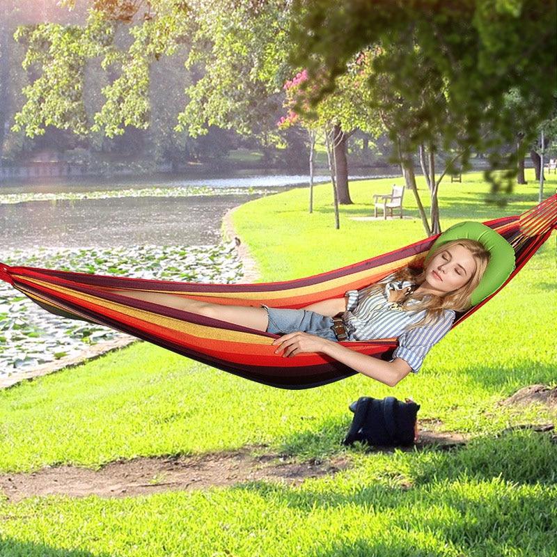 Portable Outdoor Garden Hammock Hang Bed Travel 2019 NEW Camping Swing Hiking Canvas Stripe Hammock Hanging Bed 200x100 cm bag