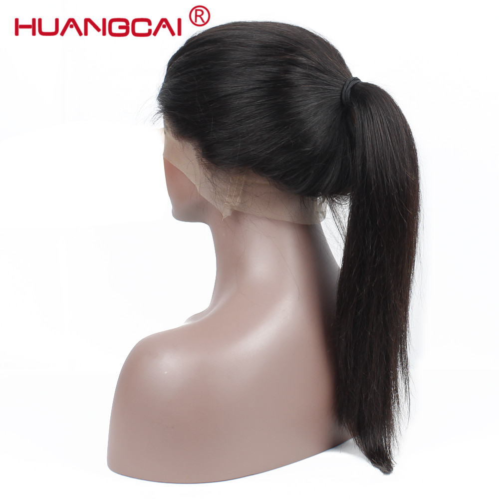 360 Lace Frontal Wig With Baby Hair Pre Plucked Brazilian Straight Lace Front Human Hair Wigs For Women Remy Black...