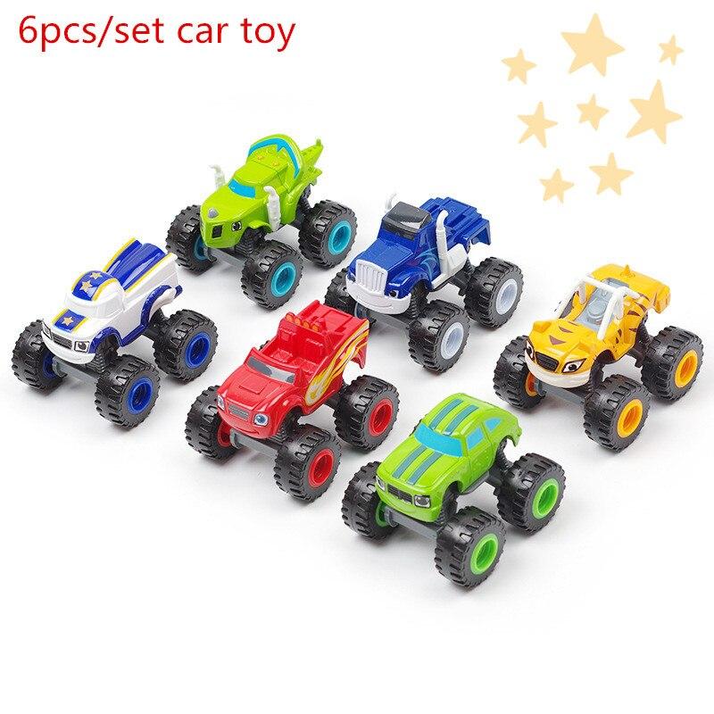6PCS/set Blaze Monster Racer Cars model Truck Kid gift Blaze and the Monster Machines Vehicles Toy Racer Cars Trucks plastic