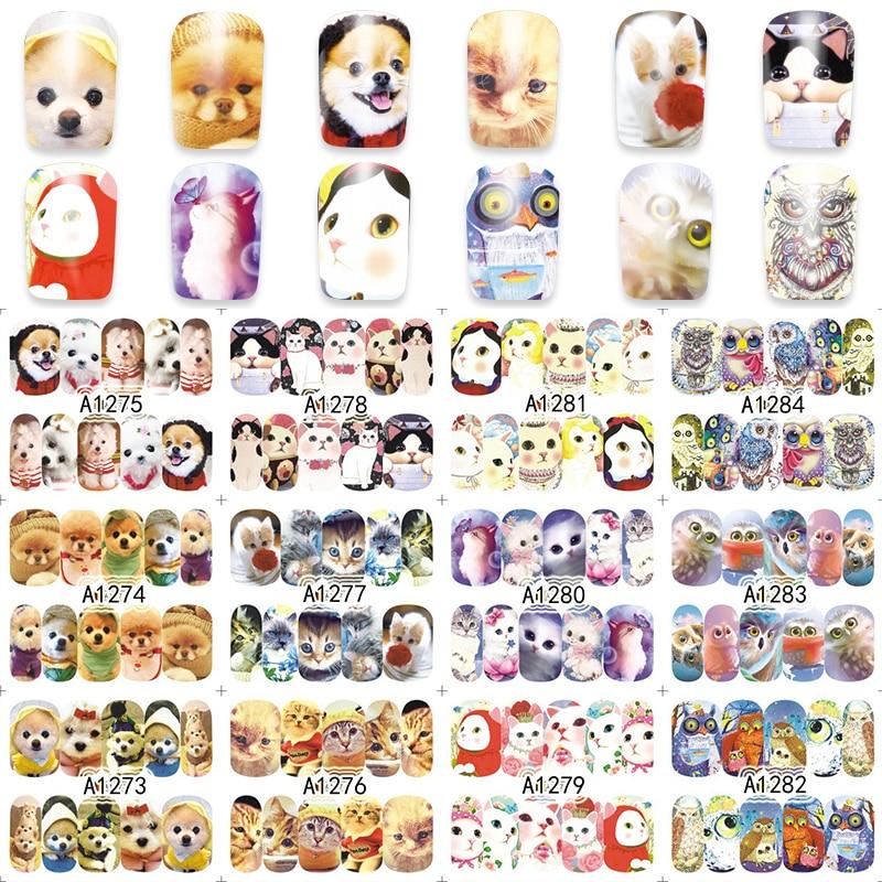 YZWLE 12 Designs/Set Nail Art Water Sticker Dog/Owl/Cat Cute Nail Decals Polish Gel DIY Beauty A1273-1284 24sheets nail sticker cat designs water transfer nails art loveliness cartoon cat gel beauty decal makeup manicure wrap decals
