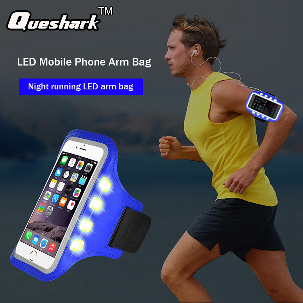 LED Running Arm Bags Sports Fitness Reflective Armband Night Running Jogging Phone Pouch Holder With Earphone Hole