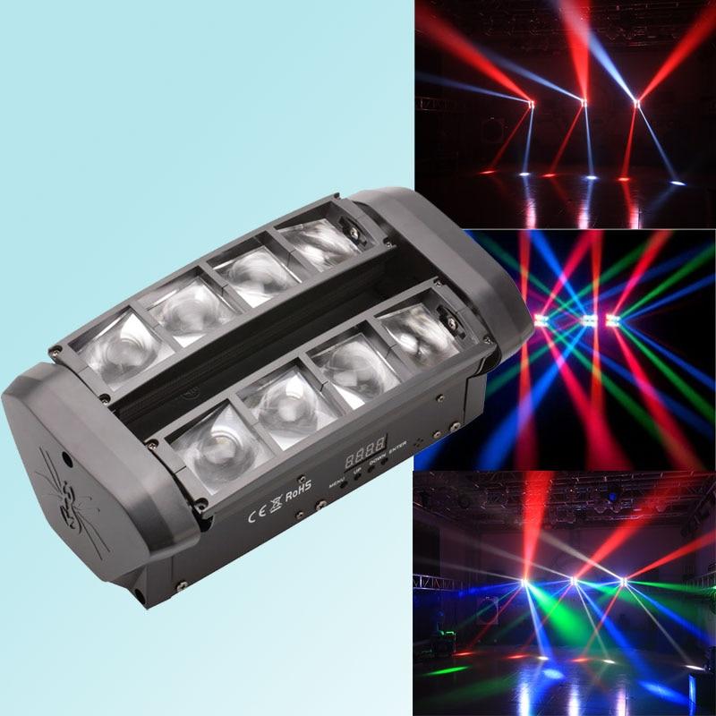 Işıklar ve Aydınlatma'ten Sahne Aydınlatması Efekti'de 8x10W RGBW Mini Led örümcek ışık hareketli kafa DMX ışın hareketli kafa ışık Led parti olay gösterisi ışık DJ aydınlatma title=