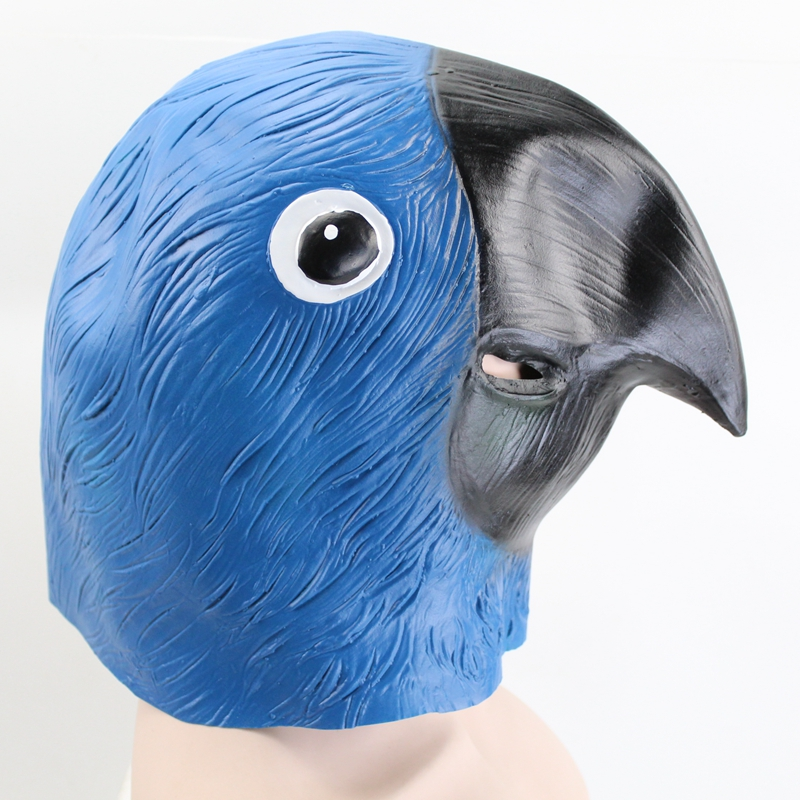 GNHYLL Blue Parrot Latex Mask Realistic Masquerade Costume Prop Halloween Party Adult Full Face Mask Halloween Mask in Party Masks from Home Garden