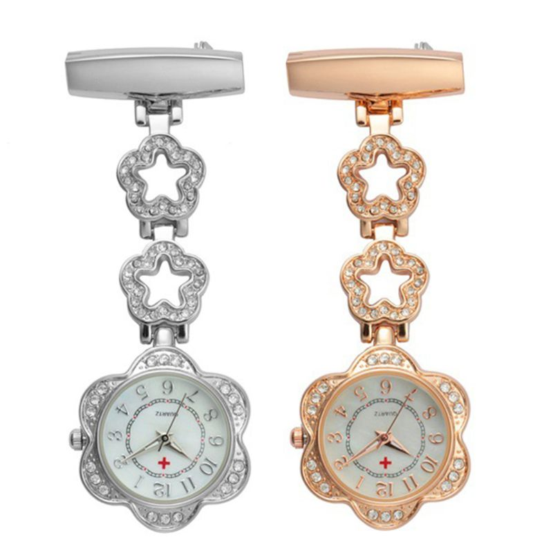 Fashion Women Pocket Watch Clip-on Fob Quartz Brooch Five-pointed Star Hanging Watch Crystal Clock For Medical Doctor