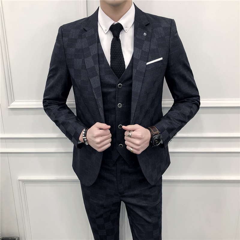 New Fashion Custom Made Wedding Mens Suits With Pattern 3 Pieces Tuxedos Mandarin Lapel Prom Latest
