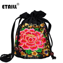 ETAILL New National Ethnic Women Messenger Crossbody Bag Small Drawstring Bags Fashion Ladies Canvas Embroidered Shoulder Bag цена в Москве и Питере