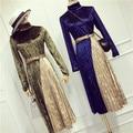 Autumn Winter Women Velvet Dress Costumes Long Sleeve Turtleneck Elegant Woman Vintage Stylish Dresses Women's Clothing