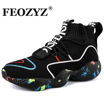 FEOZYZ Knit Vamp High Top Sneakers Men Women Size 35-47 Life Running Shoes Breathable Sport Shoes Zapatillas Hombre Deportiva