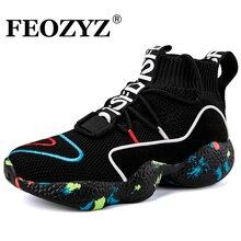 FEOZYZ/вязаные кроссовки с высоким берцем для мужчин и женщин, Размеры 35-47, обувь для бега, дышащая спортивная обувь, zapatillas hombre Deportiva