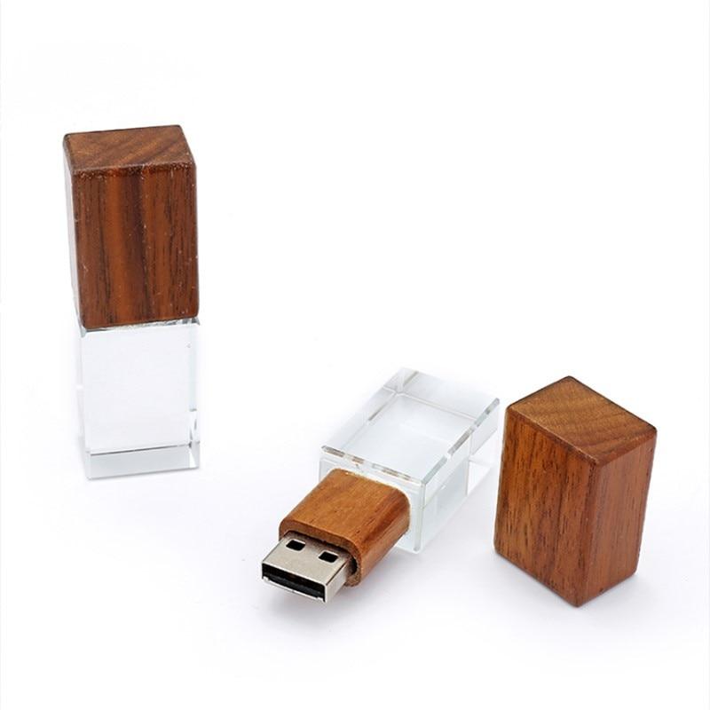 High Speed Wooden Crystal 2 IN 1 USB 3.0 Memory Flash Stick Pendrive 8GB 16GB 32GB 64GB