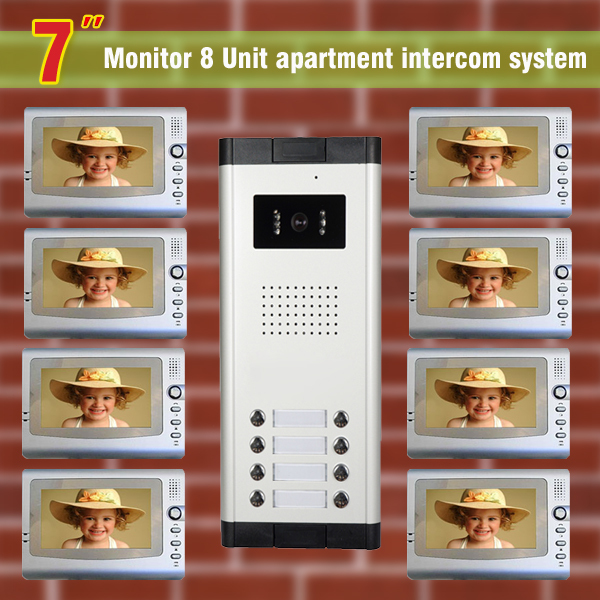 8 Units Apartment Intercom System Wired 7 inch Video Door Phone Intercom System Video Doorbell visual intercom system apartment intercom system 7 inch lcd 4 apartment color video door phone intercom system video intercom door bell door phone