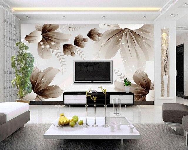Custom foto behang moderne 3D muur behang bloemen art design ...