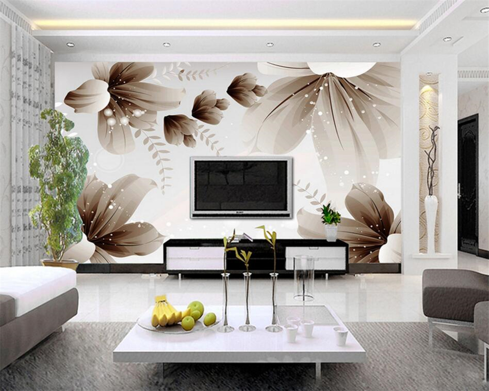 Custom photo wallpaper modern 3d wall wallpaper floral art for Wallpaper design for office wall
