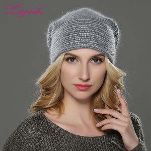 Image 3 - LILIYABAIHE חדש סגנון נשים בימס חורף כובע סרוג צמר אנגורה פסים כובעי מעודן מכתב קישוט כובע כפול כובע חם