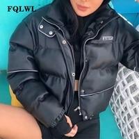 FQLWL Faux Pu Leather Jacket Women Long Sleeve Tops Jacket Winter Coat Ladies Casual Short Oversized Jackets Female Outwear 2019