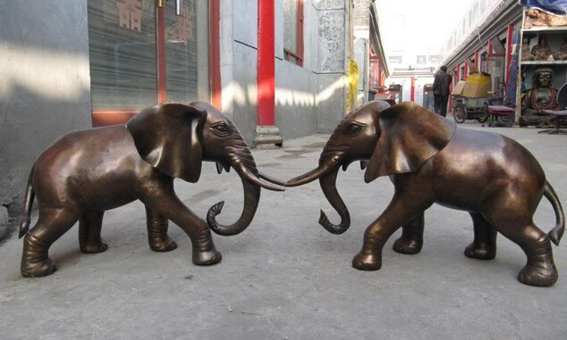008530 China exquisite Bronze Copper Fngshui favonian peace Two Elephant Pair statue|statue bronze|statue china|statue elephant - title=