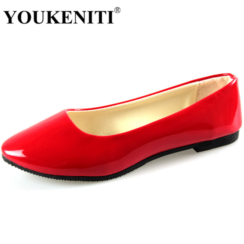 2017 Top Sale Soft PU Red Color Girl Flats Shoes Wholesale Rubber Ballet Zapatos Point Toe Women Casual Shoes H021