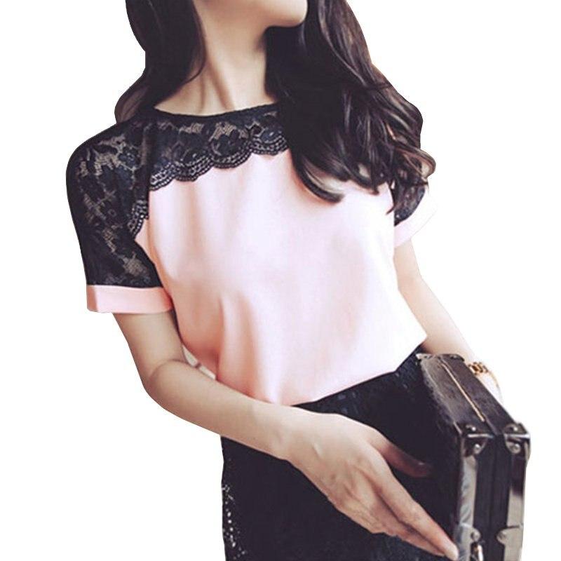 Moda Mujeres Casual Camiseta de Manga Corta de Gasa de Encaje Flojo Camisa de La