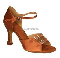 Wholesale Women Tan Satin Crystal Buckles Satin Ballroom LATIN Dance Shoes SALSA Dance Shoes Tango Dance Shoes