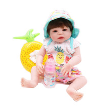 55CM Full Silicone Body Reborn Baby Doll Toy For Girl Vinyl Newborn Princess Babies Bebe Bathe Accompanying Birthday Gift