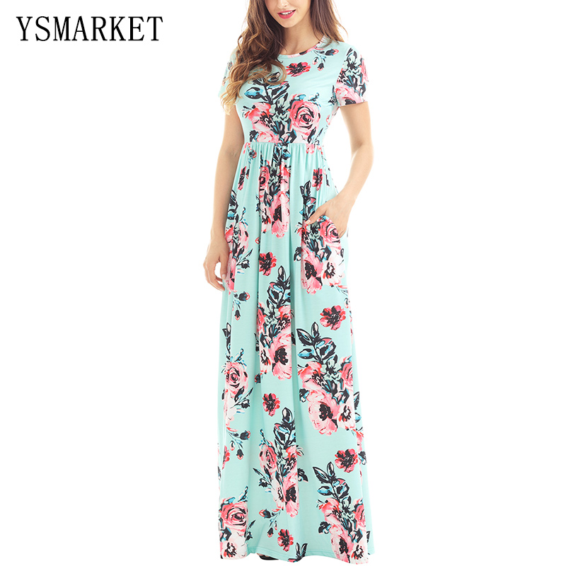 Pink Rose Floral Print Pleated Party Long Dress Women O Neck Elegant Boho Pocket High Waist Loose Maxi Dress h61560