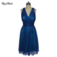 Real Photo Criss Cross Bridesmaid Dresses Knee Length Short Formal Party V Neck Tulle Blue Bridesmaid Gown Robe De Soiree