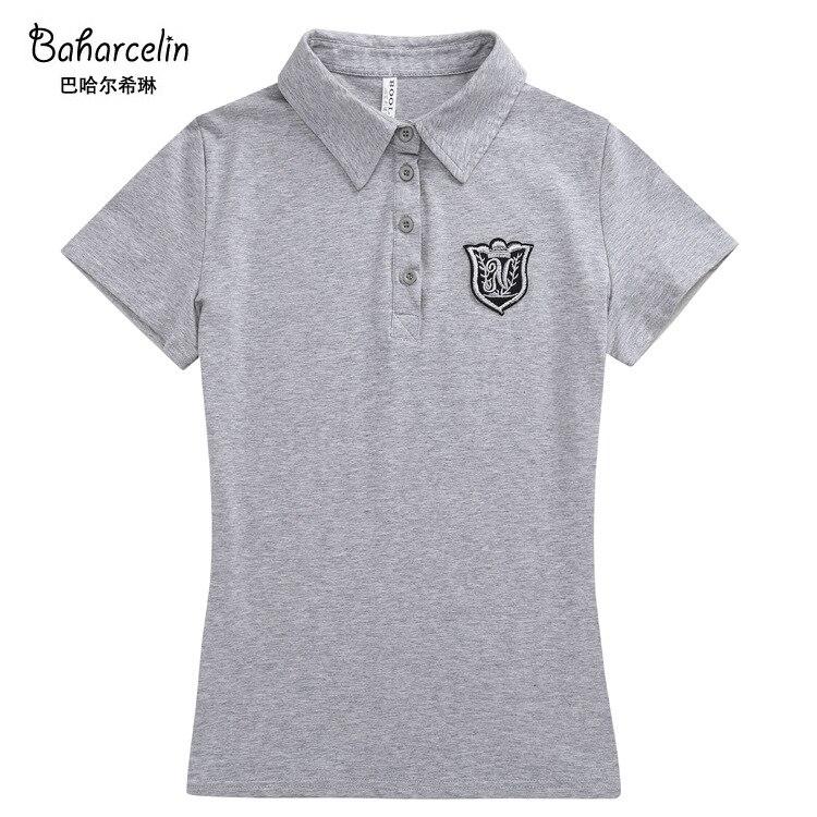 Baharcelin Baumwolle Polo Shirt Große Plus Größe 5xl 6xl Frauen Drehen-unten Kragen Kurzarm Schlank Baumwolle Tees Weiblich Tops Schwarz Muje