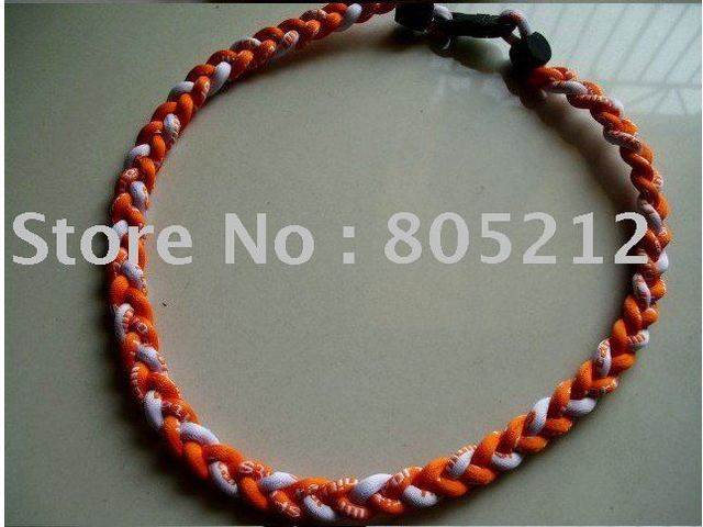 Free shipping 100pcs/lot Wholesale 3 ropes necklace ,braided necklace,Tornado Germanium Titanium Necklace