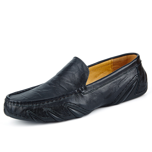 Clax Men Leather Flats Shoes 2019 Spring Summer Men's Boat Shoe Black Blue Casual Loafers Elegant Moccasin Leisure FootWear 1