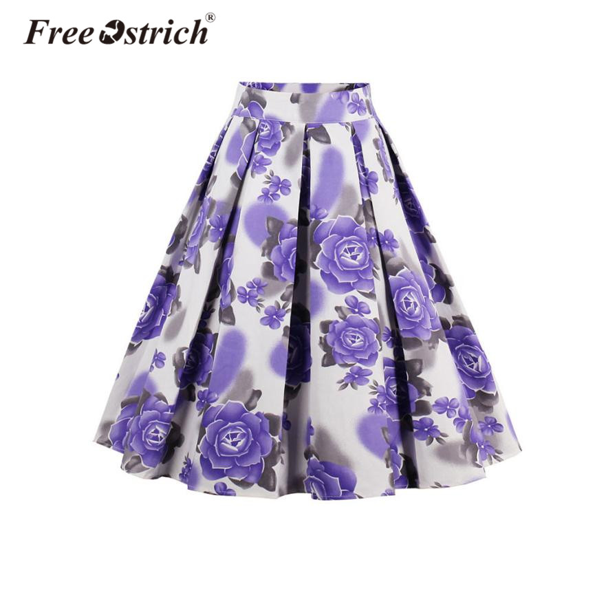 Free Ostrich 2018 Vantage Purple Flower A Line Pleated Skirt Knee Length High Waist Skirts Aldas Jupe Women Clothing Oct2430