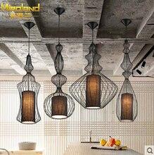 Современные украшения дома черный/белый столовая утюг подвесной светильник птичья клетка кафе бар свет free доставка