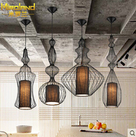 Modern home decoration black/white dining room iron pendant light bird cage coffee shop light bar light free shipping
