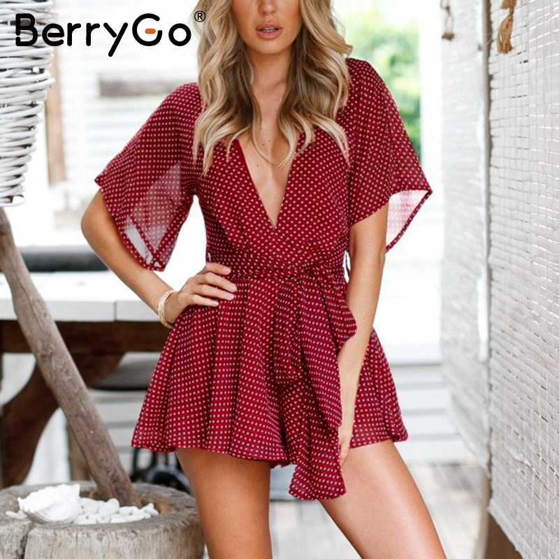 BerryGo Deep v neck floral print beach romper Women half sleeve backless short   jumpsuit   overalls Summer loose playsuit macacao