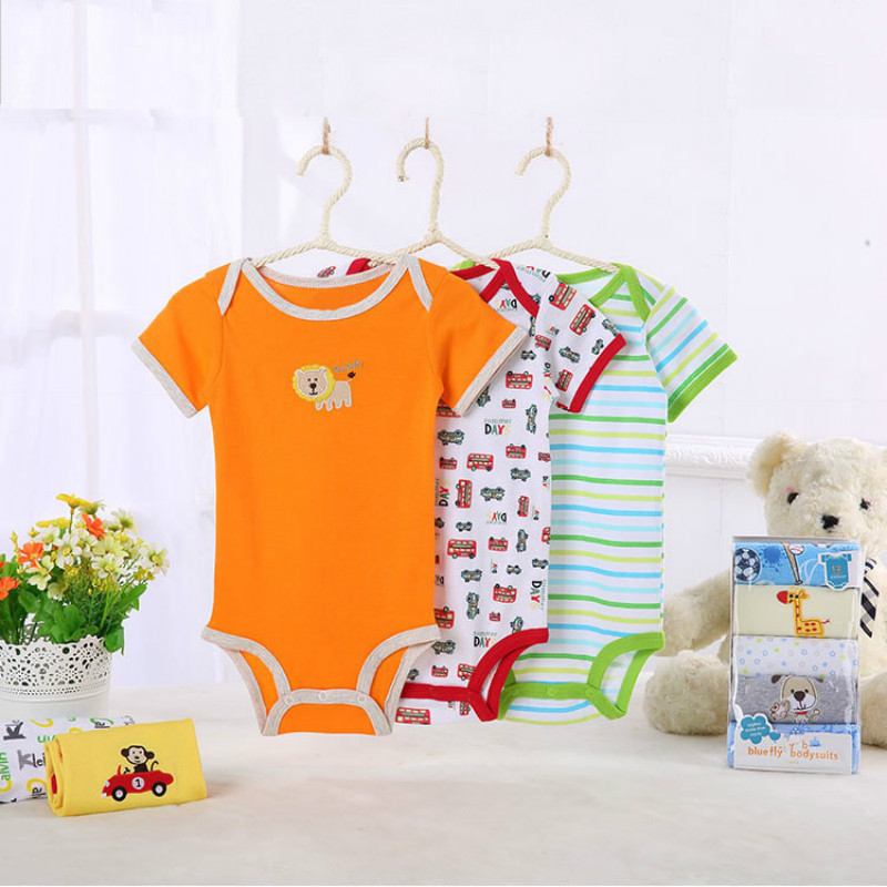 KAVKAS 3PCS Baby Rompers Cotton Baby Boy Clothes Summer Newborn Baby ClothesBaby Girl Clothes Roupas Bebe Infant Jumpsuits