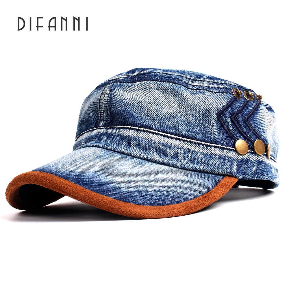 ccb00280017 Difanni Casual Army Cadet Baseball Cap Adjustable Washed Denim Cotton Hat  Solid Snapback Flat top Gorras