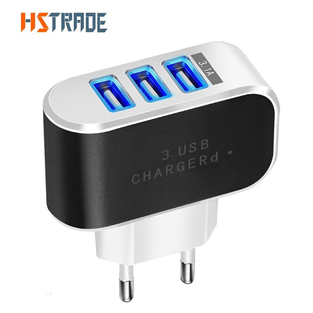 3-port USB-laddare 2A EU bärbar laddningsadapter ansluten till batteriladdaren iPhone 5 6 8 Samsung LG mobiltelefon laddare