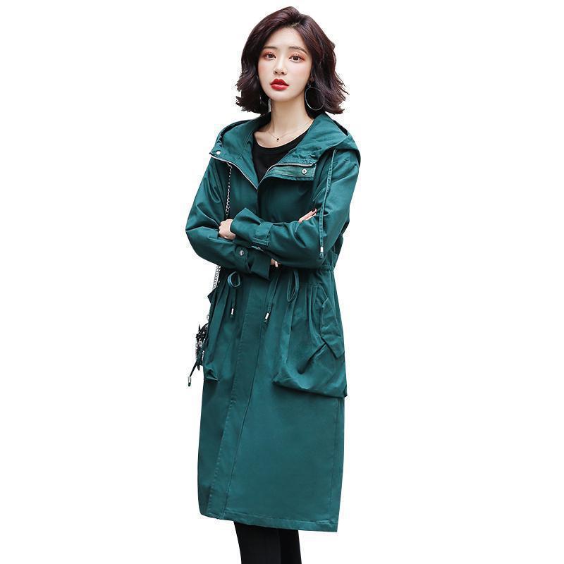 Women vintage   trench   coat spring autumn slim long sleeve hooded meidum long Windbreaker Korean overwear plus size outerwear