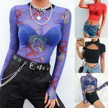 Women Sexy Dragon Print Sheer Mesh See-through Long Sleeve Top T Shirt Blouse UK trendy long sleeve high low see through pure color blouse for women