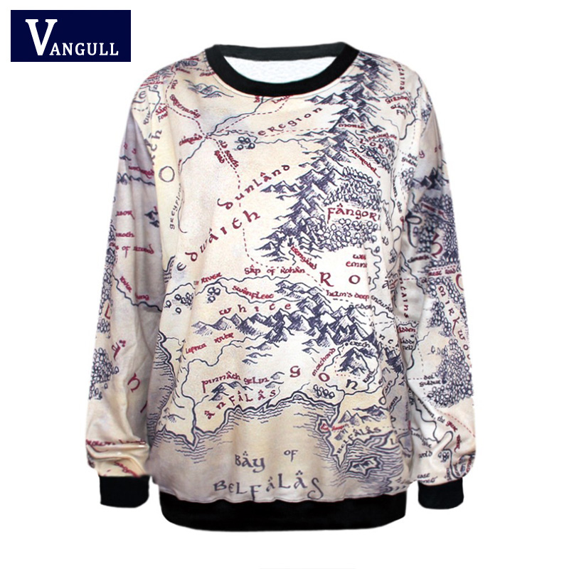 Middle Earth Map Sweatshirt Fashion Lord of The Rings Hoodie Middle Earth Map Punk Women  Middle Earth Map Sweatshirt