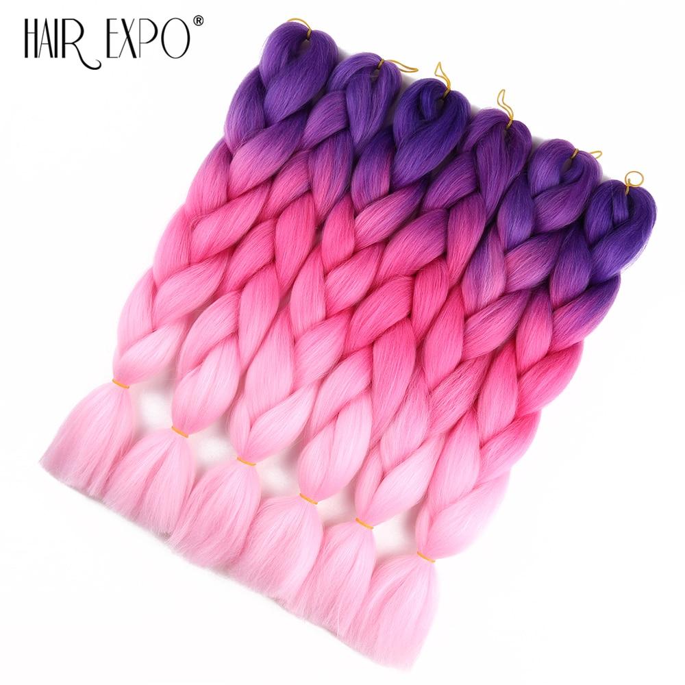 24inch Synthetic Jumbo Braids Ombre Braiding Hair Extensions Box Braid Hair Pink Purple Green Grey Golden Colors Crochet Braids