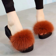New Summer Shoes Woman Fox Fur Slippers Real Fur Slides Female Furry House Flip Flops Casual Beach Sandals Fluffy Plush Shoes#42