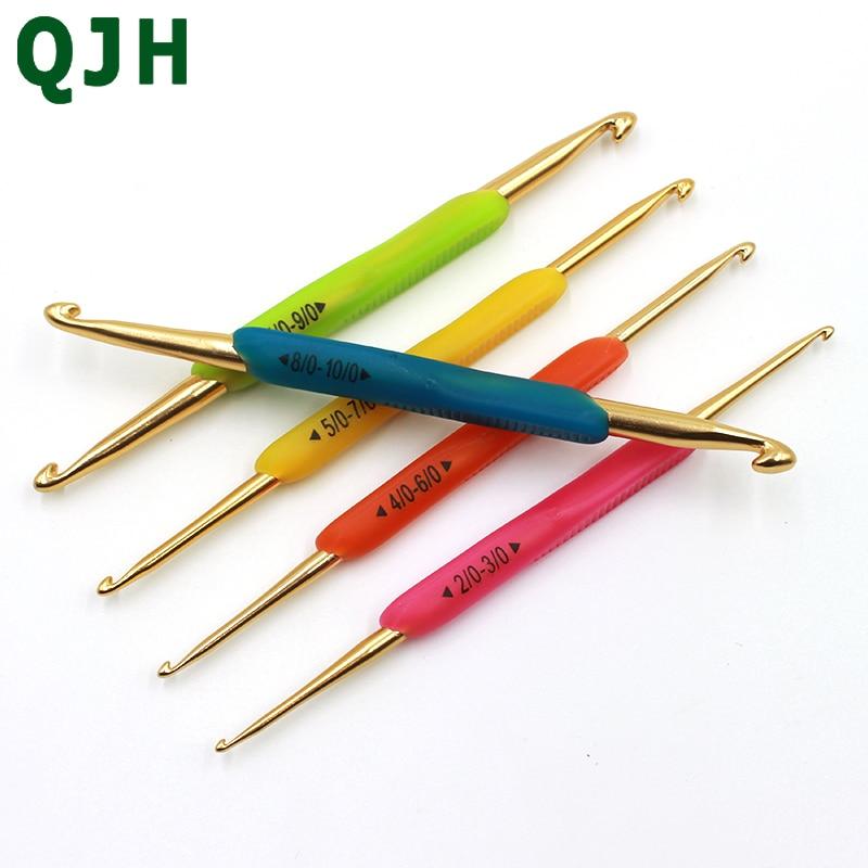 QJH brand New Silicone poignée Or Double En Aluminium Crochet Aiguilles À Tricoter Taille 2.0-10.0mm À Random13.5cm (8 ) 5 Pcs/ensemble