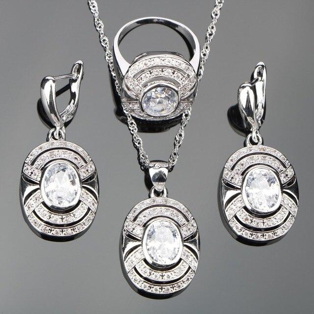 Hochzeit Weißen Zirkonia Silber 925 Kostüm Schmuck Sets Frauen Halskette Anhänger Ohrringe Ringe Mit Steinen Set Schmuck Geschenk-box