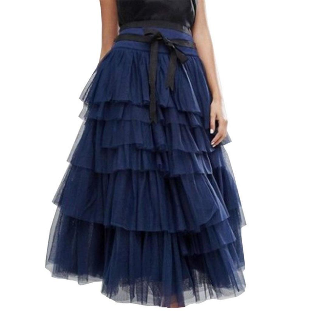 2020 Spring Summer Fashion Womens Mesh lace-up Princess Tulle Skirt  Fashion High Waist Long Ball Gown Skirt