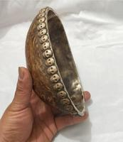 Long about 17CM/6.5INCH Art Collection Tibetan handmade Kapala Bowl ,decoration Gabbra bowl Instruments used in Tibetan Buddhism
