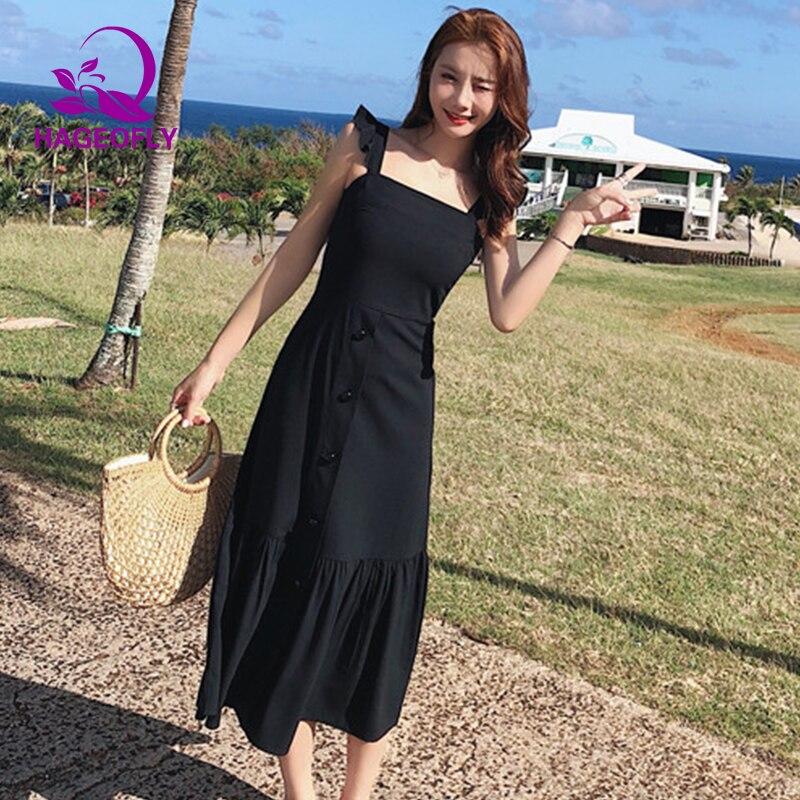 New Korean Black Summer Beach Style Dress Women 2019 New Ruffles Tank Sleeveless Fit and Flare Midi calf Casual Women 39 s Dress in Dresses from Women 39 s Clothing
