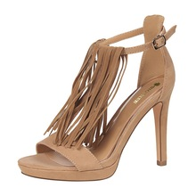 –2017Women Fashion Sexy Nightclubs High-heeled shoes Women's shoes with high-heeled suede T-shaped tassel sandals single shoes
