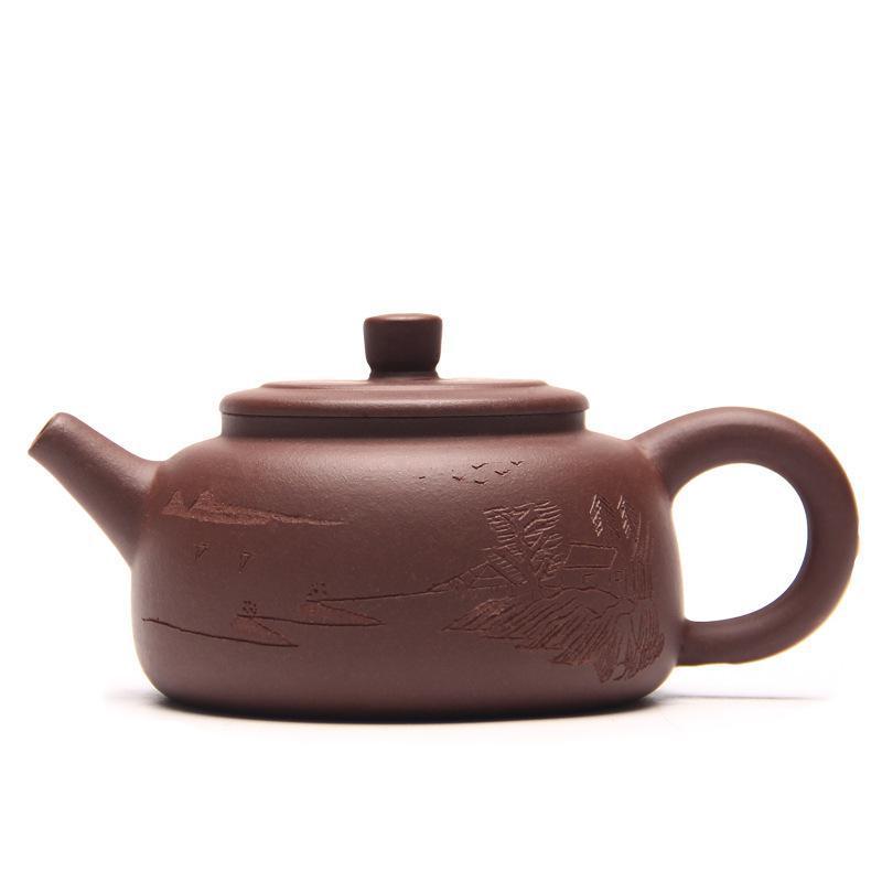 Chinês Yixing Teaware Bule Pedra Colher Bule de Chá Yixing Minério de Argila Roxa Autênticos Mestres de Kung Fu do Autor: zhou ting 100ml