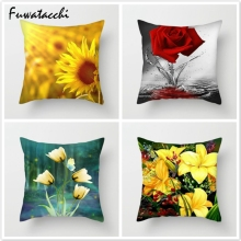 Fuwatacchi Sunflower Lotus Tulip Pillow Cover Multiple Floral Printed Cushion Polyester Home Decorative Pillowcase 45x45cm